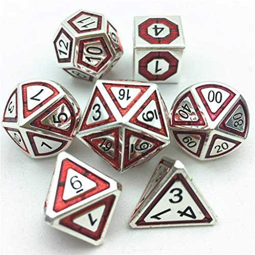 Momostar Metal Dice Set for Dungeons & Dragons, Pen and Paper RPG Polyhedral Dices 16+Color 2020 New Die. (Silver Red Black)