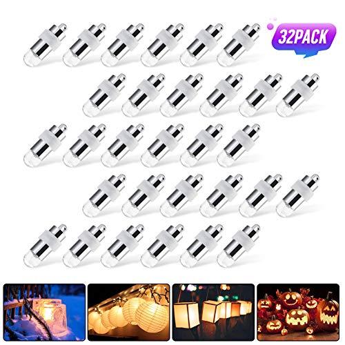 ASANMU Led Ballonlichter, 32 Stk. Mini LED-Ballons Lichter für Papierlaternen Ballon Blumendekor Hochzeit Party Dekoration Led Luftballons Lichter Ballonlampe Wasserdicht Warmweiß Batteriebetrieben