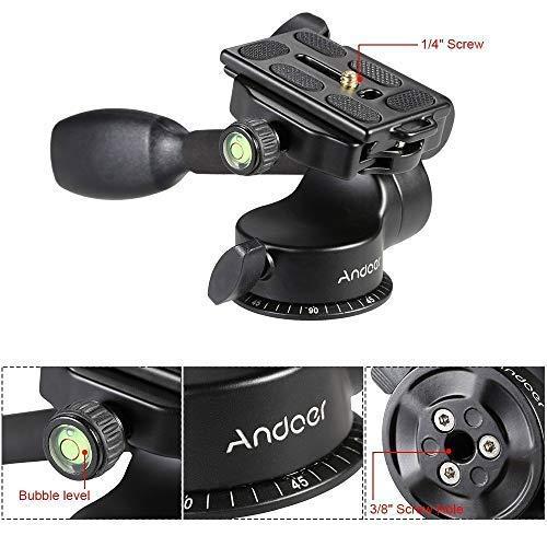 Andoer Testa a Sfera a 3 Vie per Treppiede Monopiede Fotocamera e Videocamera in Lega di Alluminio con Piastra a Sgancio Rapidio Max Carico 6KG