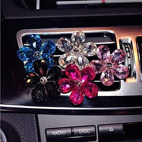 SSHELL Sschell. Il Fiore di Cristallo Automobile condizionatore d'Aria Purificatore d'ambiente Uscita Aria Decor Auto Ornamenti Accessori Auto (Color Name : Red)