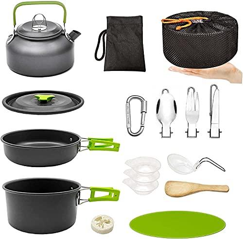 LHY Camping-Pfannen und Pots-Kit, tragbares Outdoor-Kochgeschirr, Tee-Kessel-Schüssel Geschirr-Set mit Netz für Trekking, Wandern, Rucksack, Picknick, für 2-3 Personen (Kochgeschirrset)