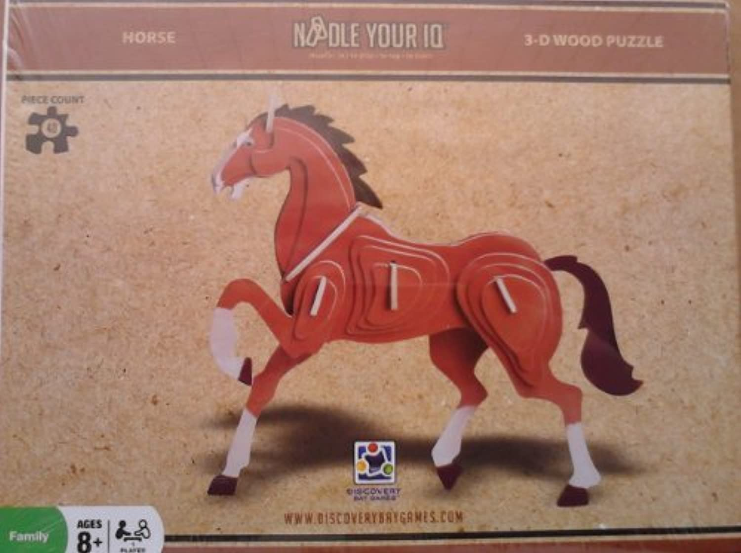 Noodle Your Iq 3d Wooden colord Horse by Noodle Your IQ