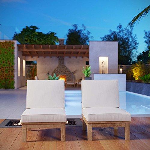 Modway EEI-1821-NAT-WHI-SET Marina Premium Grade A Teak Wood Outdoor Patio, Two Armless Chairs, Natural White