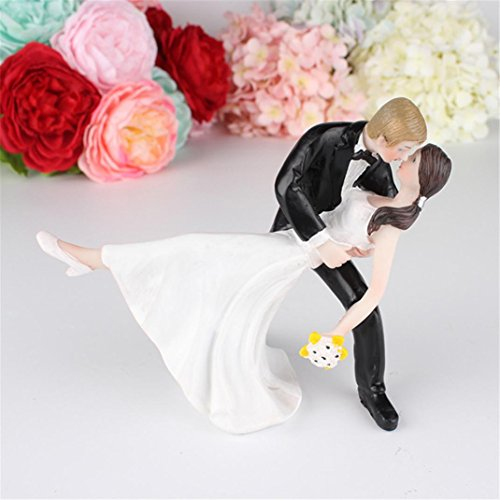 Romantic Bride and Groom Wedding Cake Topper Couple Hug Kiss Bridal Decoration (A)