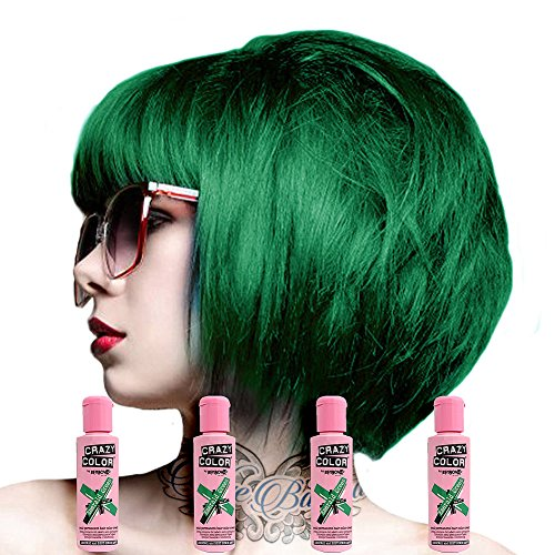Crazy Colour Semi Permanent Hair Dye By Renbow Emerald Green No.53 (100ml) Box of 4 by Renbow