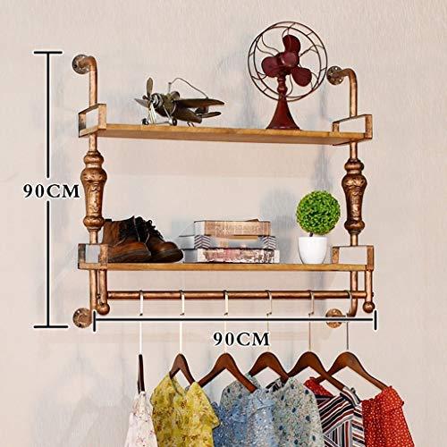 MU Hölzerne Haushalts-Aufhänger, Wand-Aufhänger, Eisen-altes - kupferne Farben-Kleidungs-Speicher-Ausstellungsstand-Feste hölzerne Brett-Wand-Aufhänger, Wand-Tür-Rückseiten-Mantel-Zahnstange,90 * 90