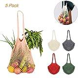 CREATIEES 5 Stück Cotton Einkaufsnetz Netzbeutel mit Langer Griff, Wiederverwendbar Einkaufstasche Netze Tasche Kartoffelsack, Tragbar Einkaufsnetz...