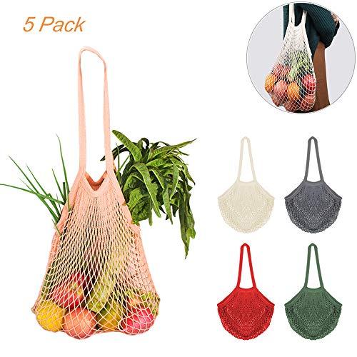 CREATIEES 5 Stück Cotton Einkaufsnetz Netzbeutel mit Langer Griff, Wiederverwendbar Einkaufstasche Netze Tasche Kartoffelsack, Tragbar Einkaufsnetz Veranstalter für Lager Obst Gemüse Markt(5 Farben)