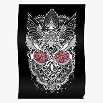 Psychedelic White Black and Geometric Owl Pattern Tattoo Impressive and Trendy Poster Print Decor Wall or Desk Mount Options