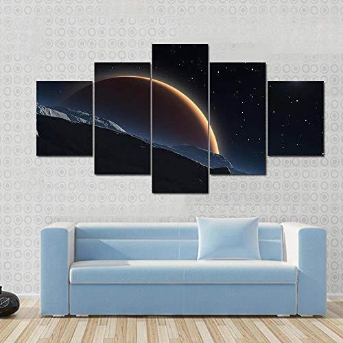 QQQAA Cuadro sobre Lienzo 5 Piezas fobos con el Planeta Rojo Marte Material Tejido No Tejido Impresión Artística Imagen Gráfica Decoracion de Pared 150cmx80cm