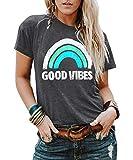 YEXIPO Womens Graphic Tees Good Vibes Shirt Short Sleeve Funny T Shirts Rainbow Print Cute Summer Tops (Large, 1-Dark Grey)