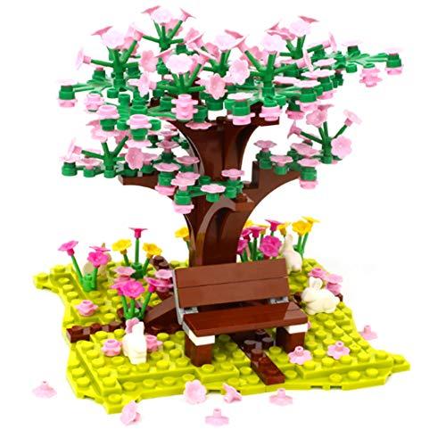 HYZM Sakura Baum Bausteine Bausatz, 200+Pcs City Kirschblüte Modellbausatz mit Bauplatten, Kompatibel mit Lego Baumhaus 21318