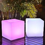 HMBBDT LED Würfel Sitzwürfel Farbwechsel Fernbedienung Leuchtwürfel Garten Deko,16 optionaler Farbwechsel/RGB/Würfel Solarlampe/Dekoleuchte/Außenleuchte/Gartenlampe,10cm