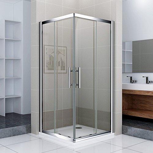 Porte de douche coulissante 80x80x185cm cabine de douche angulaire 2 volets et 2 verres fixés