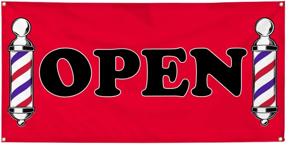 Vinyl Banner Multiple Sizes Open Outdoor Advertising Printing W Business Outdoor Weatherproof Industrial Yard Signs Red 8 Grommets 48x96Inches