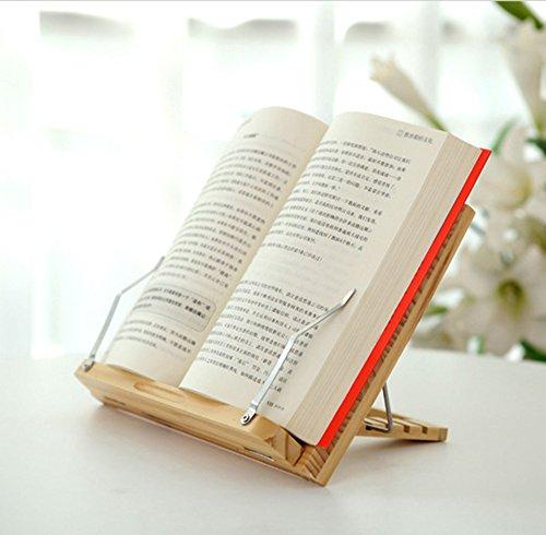 Yihiro ブックスタンド 筆記台 書見台 本立て 5段階調節 33×23cm 折りたたみ式 データホルダー 読書や勉強に 原木 ナチュラル