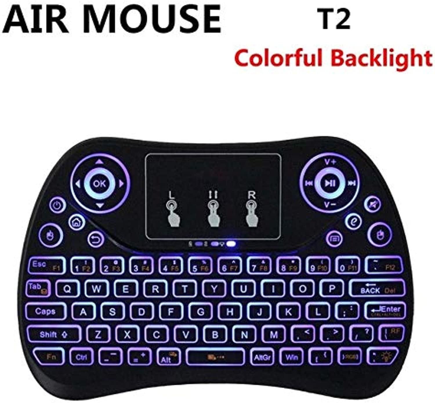 Calvas 7 color Backlight Mini Wireless Keyboard T2 Remote Control Fly Air Mouse Flat Touchpad Better Than i8 MX3 for Mini PC Mac Linux  (color  colorful Backlight)