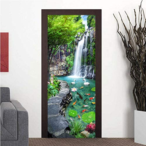 ZPCR Custom 3D Mural Wallpaper Waterfall Pond Bedroom Landscape Decor Photo Wallpaper Sticker PVC Self-Adhesive Door Murals Stickers