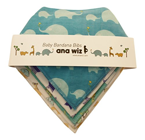 Premium Baby Bandana Bibs, 100% Organic Cotton, Set of 5 Unique Designs (Boys Set)