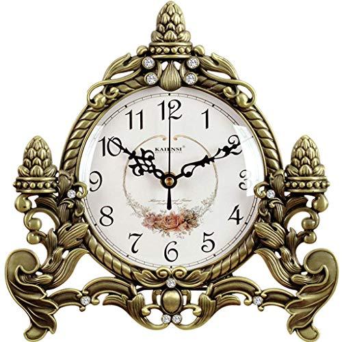 LHQ-HQ Reloj de escritorio de la familia Reloj de mesa de metal, sin tictac, silencioso, reloj de mesa para dormitorio, sala de estar, dormitorio, oficina (color, B), A