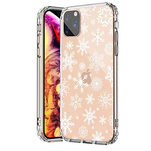 """SevenPanda für iPhone XS Hülle Silikon, für iPhone X Hülle, TPU Hülle für iPhone X XS 5.8"""" mit Christmas Snowflake Weihnachten Schneeflocke Hirsch Muster Protective Case - Schnee"""
