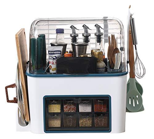 Countertop Kitchen Knife 8 Spice Box Jars, Cutlery Cutting Board Storage Shelf Modern Design Rack Spoon Too (white)