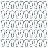 100pcs Mini Aluminum Bulk Carabiner Spring Clip Hook Keychain Buckle Pack Carabeaner for Camping Hiking Rv Fishing Bottle Backpack Traveling and Keychain, Silver