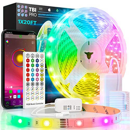 TBI Pro LED Strip Lights 20ft - Indoor RGB Led Strip with Remote Bluetooth App Control, Music Sync Color, SuperBright 5050 LED, Wireless Led Rope Lights for Bedroom Kitchen Living Room Home Decoration