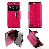 Funda con tapa para Huawei Ascend G6 (piel sintética, protección integral), color rosa