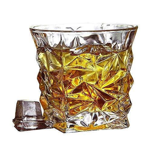 JIAOXIAOHUI Bicchieri di Whisky, Occhiali in Cristallo a Doppia Parete Vecchio Stile, Bourbon Cocktail Scotch Vodka Occhiali, Bicchieri da Bere, Set di 4 Bicchieri Vino