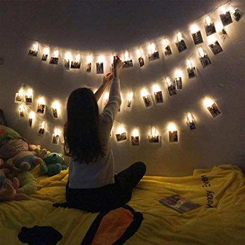 Frdzsw Foto Clips Lichterkette, 20 LED 2.4 Meters Lichterketten Fotos, Led Licht für Bilder Fotos, Dekoration für Weihnachten,Hochzeiten,Party, Geburtstag(Warmes Weiß)