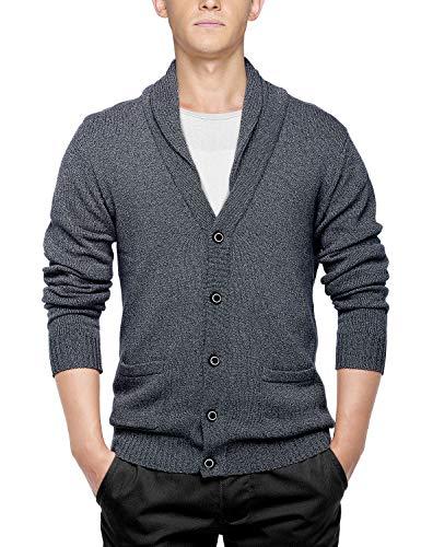 Match Men's Shawl Collar Cardigan Sweater (US M (Tag Size XL), Dark Heather Gray)