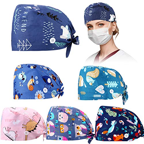 6 Pieces Working Hat with Buttons Adjustable Sweatband Bouffant Hats Unisex Tie Back Hats (Cute Animals)