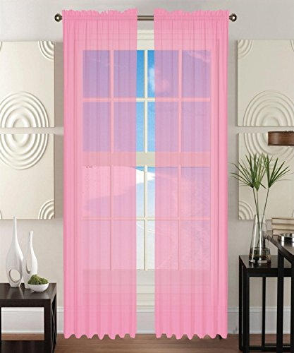 Awad Home Fashion 2 Panels Solid Light Pink Sheer Voile Window Curtain Treatment Drapes 55