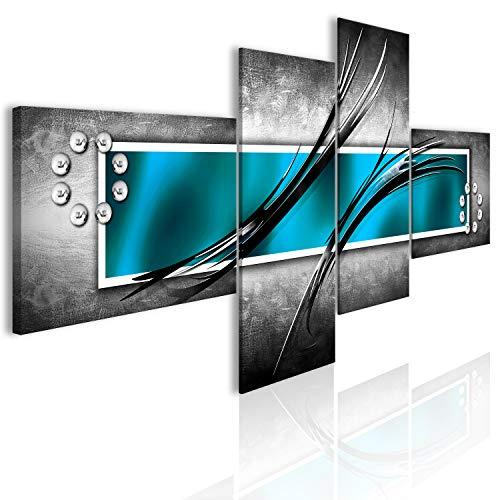 murando - Bilder Abstrakt 200x92 cm Vlies Leinwandbild 4 Teilig Kunstdruck modern Wandbilder XXL Wanddekoration Design Wand Bild - blau türkis Silber grau a-A-0526-b-o