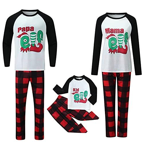 Familia Navidad pijamas a juego conjuntos de vacaciones pijamas de Navidad Jammies para parejas familiares ropa de salón verde Plaid Bottoms, B-blanco, XL