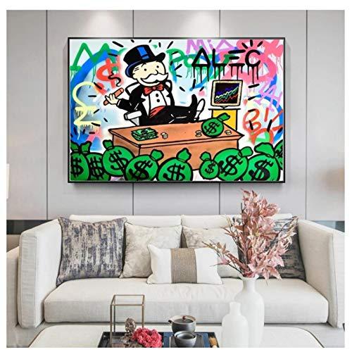 DNJKSA Alec Monopoly Rich Money Man Impresión en Lienzo Póster Artístico Cuadros de laSala de Estar Decoración del hogar Regalo único-24x36 IN Sin Marco