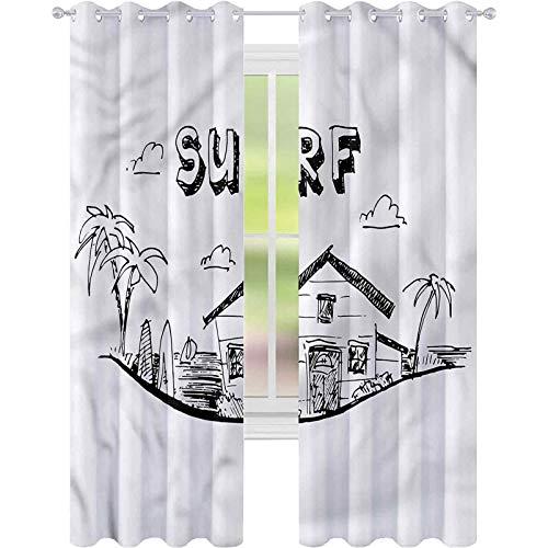 jinguizi Cortina opaca para ventana de surf monocromática tablas de surf árboles de 42 x 72 cm de ancho para decoración de niños cortinas personalizadas