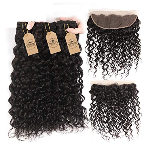 Hair Water Wave Bundle With Closure Frontal 3 Bundles Malaysian Hair Bundles With Closure Remy Human Hair Weave 4 Pcs 26 28 28 & Closure20