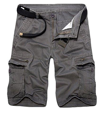 ZKOO Cortos Pantalones de Carga Hombres Multi-Bolsillo Bermuda Cortos Deporte Shorts Casual Clásico