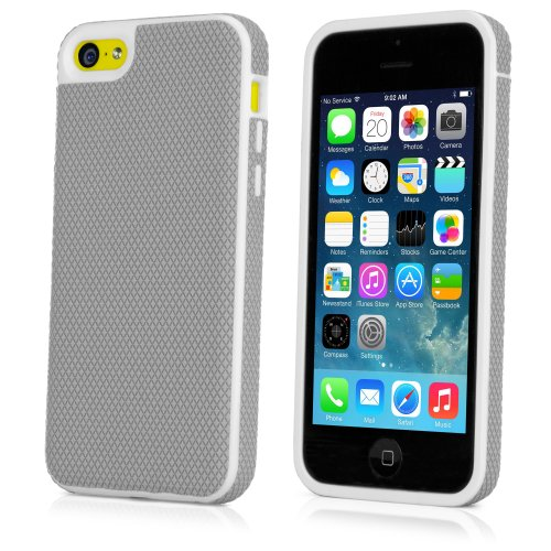 iPhone 5c Case, BoxWave [Softie Case] Hard Shell Cover w/Soft Rubberized Outer Layer for Apple iPhone 5c - Cool Grey