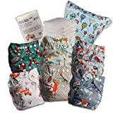Littles and Bloomz Baby Reusable Pocket Nappy Cloth Diaper, Standard Popper, 6 Nappies + 6 Inserts, 1 Disposable Bamboo Liner, 1 Wet Nappy Bag, 618PM6