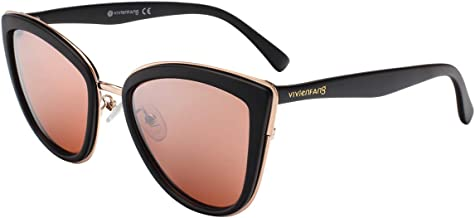 VIVIENFANG Color Mirrored Oversized Cateye Sunglasses Fashion Polarized Shades For Women P1891