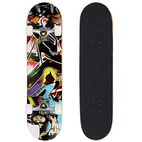 ANCHEER Skateboard Monopatín 79x19cm Patinetas Estándar Completas para Niños Adolescentes Jóvenes Principiantes,Cubierta de Madera de Arce Canadiense 7 Capas con Rodamientos ABEC-7 Carga Máxim