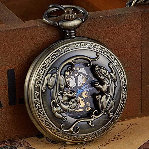 DIEFMJ Reloj de Bolsillo Reloj de Bolsillo mecánico de Bronce Retro Cuerda a Mano Tallada Doble Tropas Valientes Relojes de Bolsillo Grabados con Suerte Reloj de Cadena con Llavero