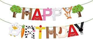 Farm Themed Happy Birthday Banner Baby Boy Girl Barnyard Farm Animals Birthday Party Decoration