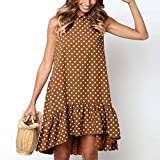 Vestidos De Mujer,Polka Dots Vestido De Verano Frío Hombro Volante Irregular De Cuello Redondo Plus Size Casual Mini Vestido Boho Beach Café Mini Vestido De Fiesta Encantadora Vestimenta Casual,Xxx