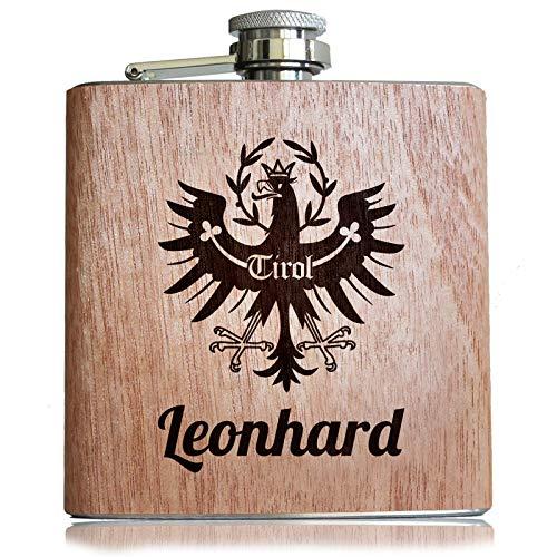 Pixelstudio Tirol Holz Flachmann mit persönlicher Namens Gravur Geschenk individuell für Tiroler Bua & MADL mit Wappen Adler
