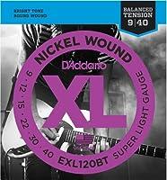 【 並行輸入品 】 D'Addario (ダダリオ) EXL120BT Nickel Wound エレキギター 弦, Balanced Tension Super Light, 9-40