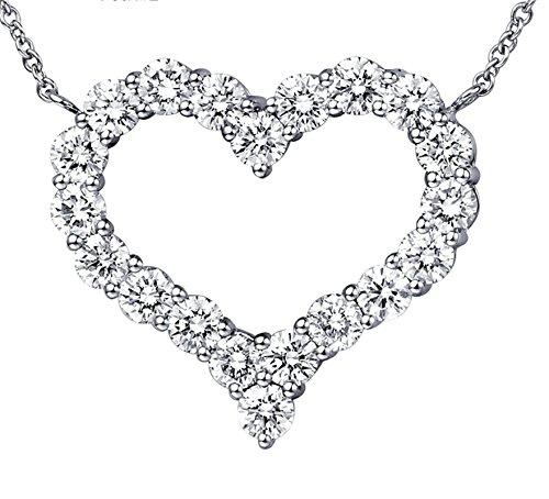 Aooaz Schmuck Damen Halskette Kette 18K Weißgold 20 Diamant (1.6ct) Herz Anhänger Halskette Silber Kette 45CM